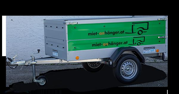 Anhänger Vermietung, Miet-Anhänger: Tieflader, PKW-Anhänger Tieflader, mit transparentem Hintergrund und Logo von miet-anhänger.at