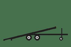 Anhänger mieten: PKW-Fahrzeugtransporter, Fahrzeugtransporter FTB-402027WK, PKW-Fahrzeugtransporter Icon, Zeichnung von PKW-Kipper, Hintergrund transparent
