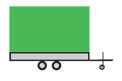 Anhänger mieten: PKW-Hochlader, Hochlader HLB-502235SP18, PKW-Hochlader Icon, Zeichnung von PKW-Hochlader, Hintergrund transparent
