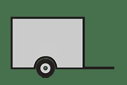 Anhänger mieten: PKW-Kofferanhänger, Kofferanhänger KOU-251375, PKW-Kofferanhänger Icon, Zeichnung von PKW-Kofferanhänger, Hintergrund transparent
