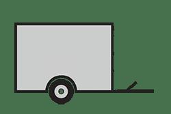 Anhänger mieten: PKW-Kofferanhänger, Kofferanhänger KOB-251313, PKW-Kofferanhänger Icon, Zeichnung von PKW-Kofferanhänger, Hintergrund transparent