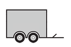 Anhänger mieten: PKW-Kofferanhänger, Kofferanhänger KOB-301520, PKW-Kofferanhänger Icon, Zeichnung von PKW-Kofferanhänger, Hintergrund transparent