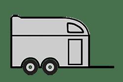 Anhänger mieten: PKW-Pferdeanhänger, Pferdeanhänger PFB-311624S, PKW-Pferdeanhänger Icon, Zeichnung von PKW-Pferdeanhänger, Hintergrund transparent